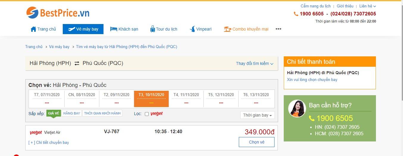 Vé máy bay đi Hải Phòng - Phú Quốc Vietjet Air