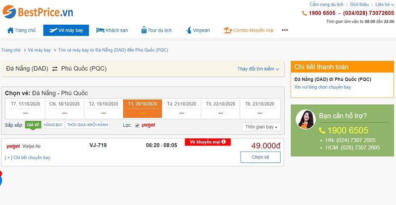 Vé máy bay đi Đà Nẵng - Phú Quốc Vietjet Air