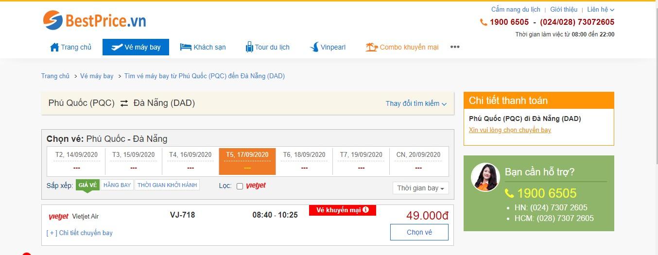Vé máy bay đi Phú Quốc - Đà Nẵng Vietjet Air
