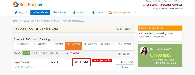 Thời gian bay từ Phú Quốc đi Đà Nẵng