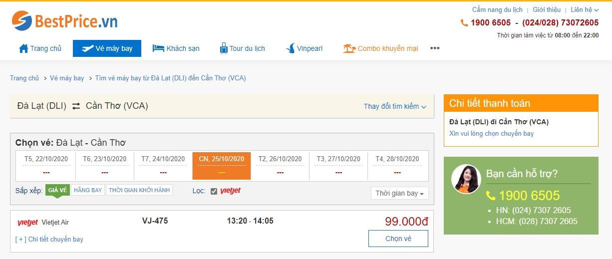 Vé máy bay đi Đà Lạt - Cần Thơ Vietjet Air