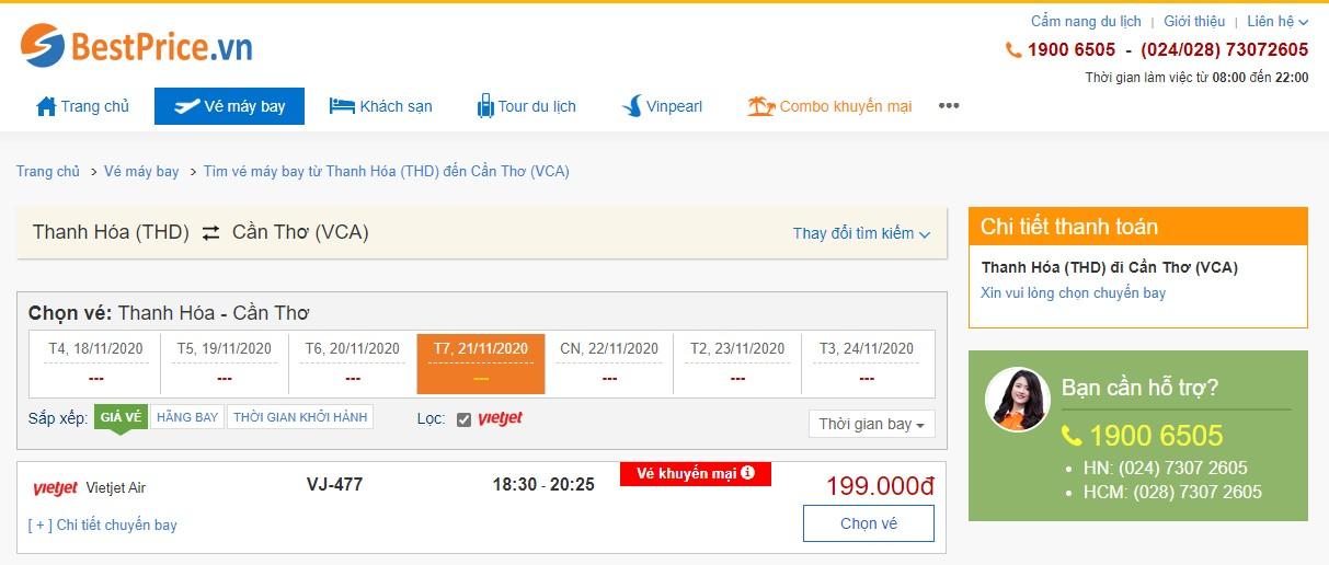 Vé máy bay đi Thanh Hóa - Cần Thơ Vietjet Air