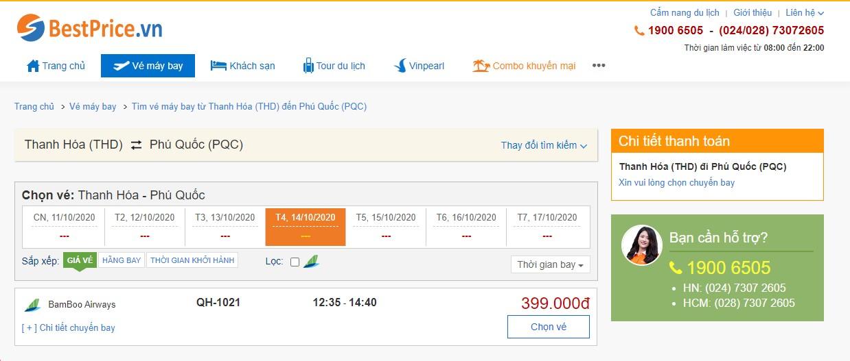 Vé máy bay đi Thanh Hóa - Phú Quốc Bamboo Airways