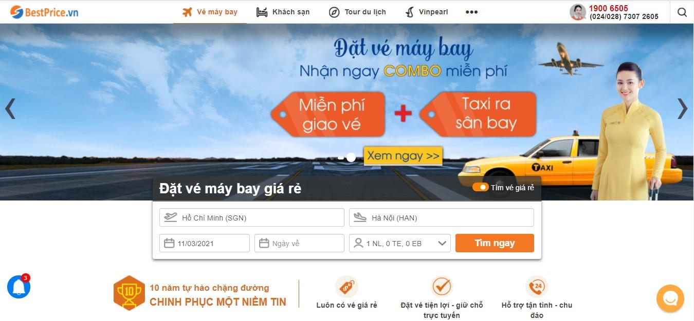 Săn vé máy bay giá rẻ tháng 3 của bestprice.vn
