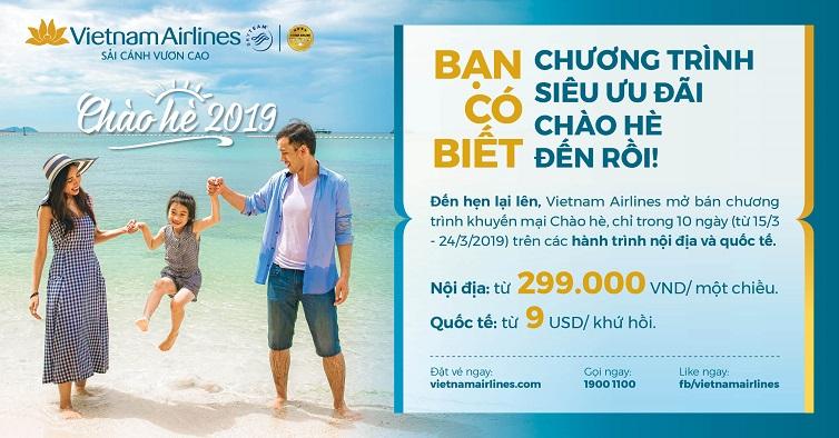 """Săn vé giá rẻ tháng 3 trong chương trình """"Chào hè"""" của Vietnam Airlines"""