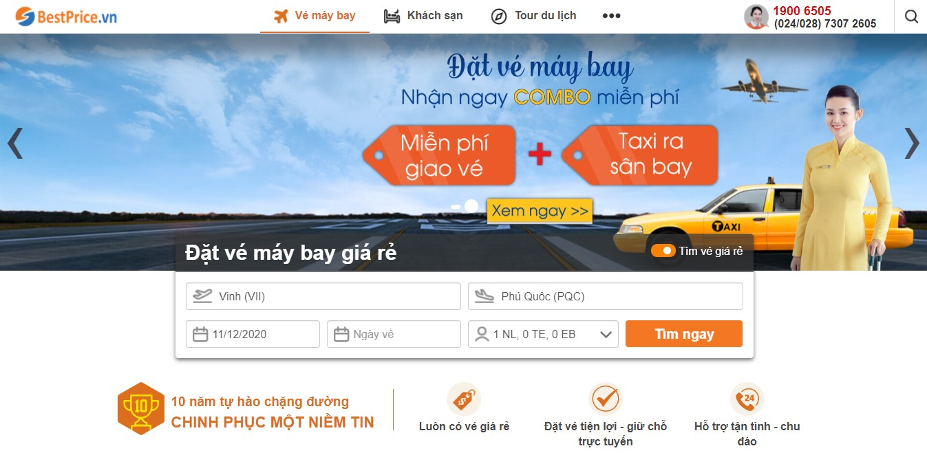 Book lịch bay Vinh đi Phú Quốc tại BestPrice