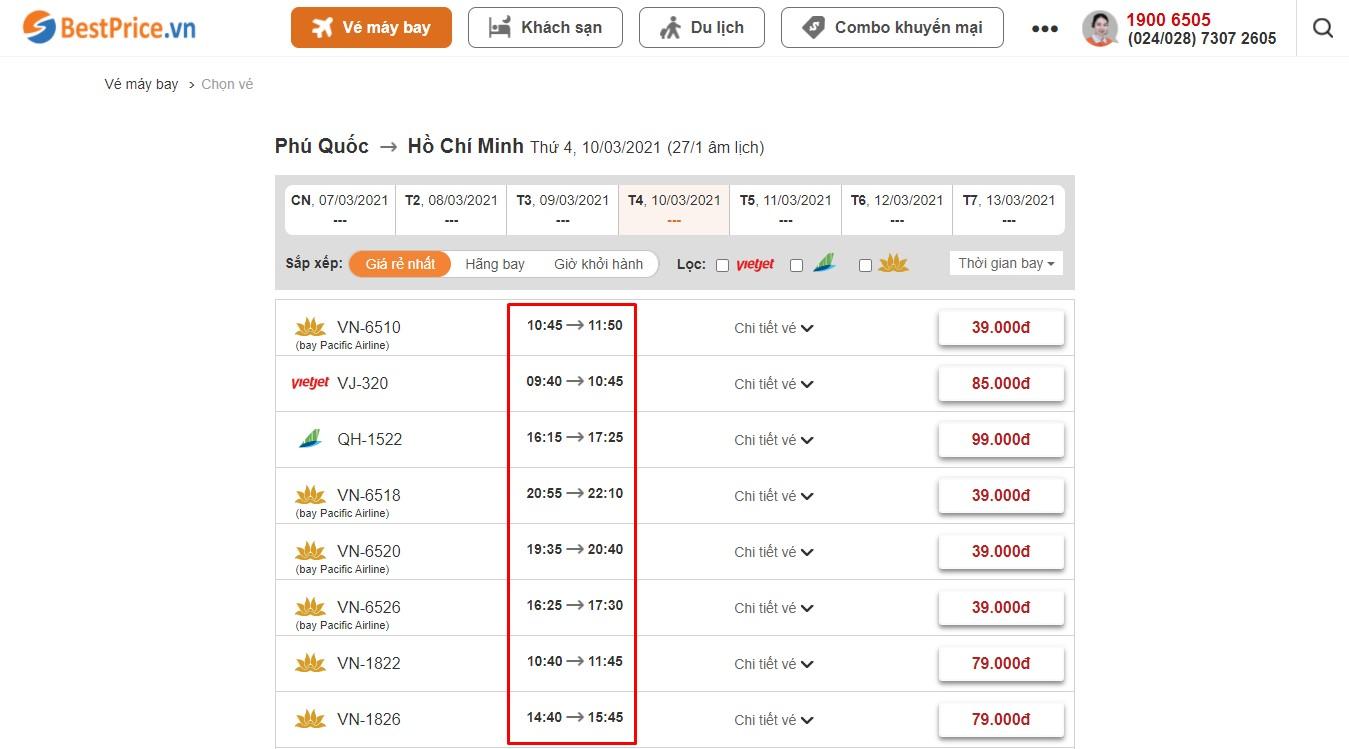 Thời gian bay từ Phú Quốc đi Hồ Chí Minh