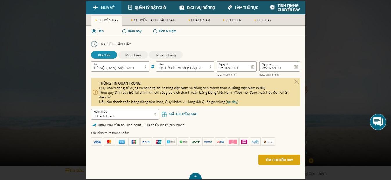 Cách săn vé máy bay giá rẻ trên website Vietnam Airlines
