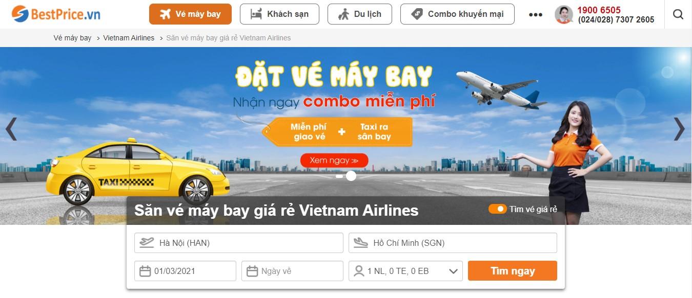 Điền thông tin chuyến bay để săn vé máy bay giá rẻ Vietnam Airlines tại BestPrice