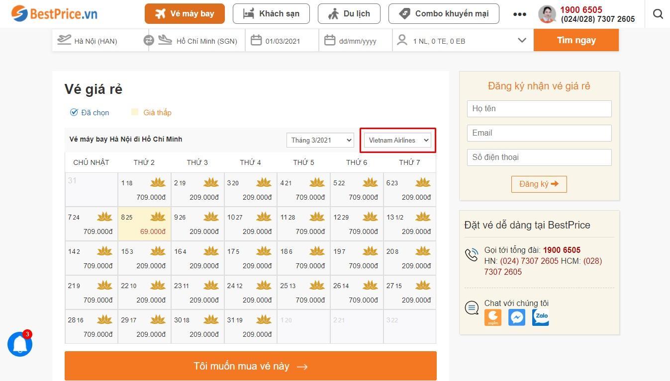 Bảng vé máy bay Vietnam Airlines giá rẻ theo tháng