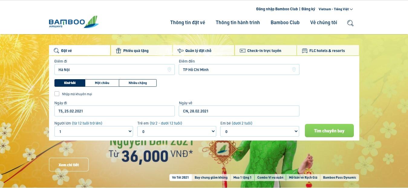 Cách săn vé máy bay giá rẻ Bamboo Airways trên website hãng