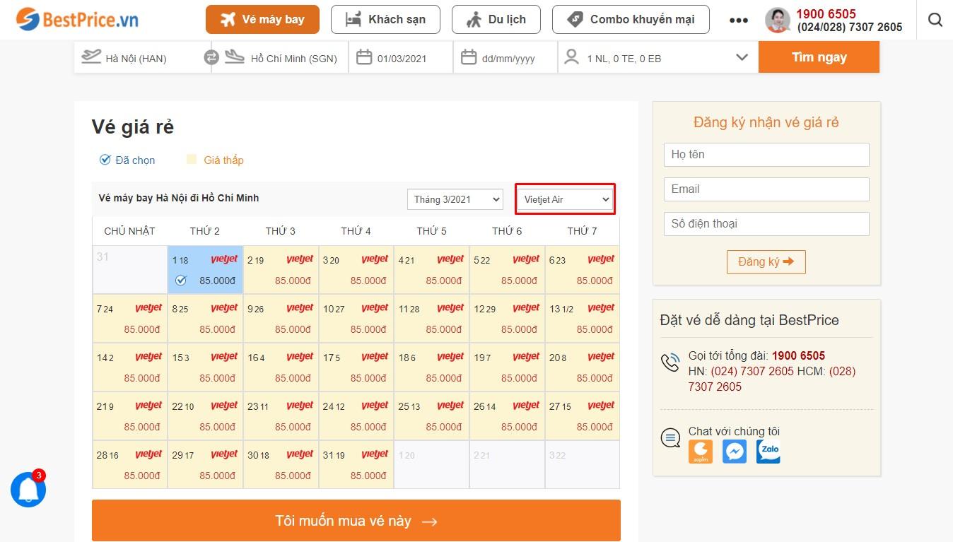 Bảng vé máy bay Vietjet Air giá rẻ theo tháng