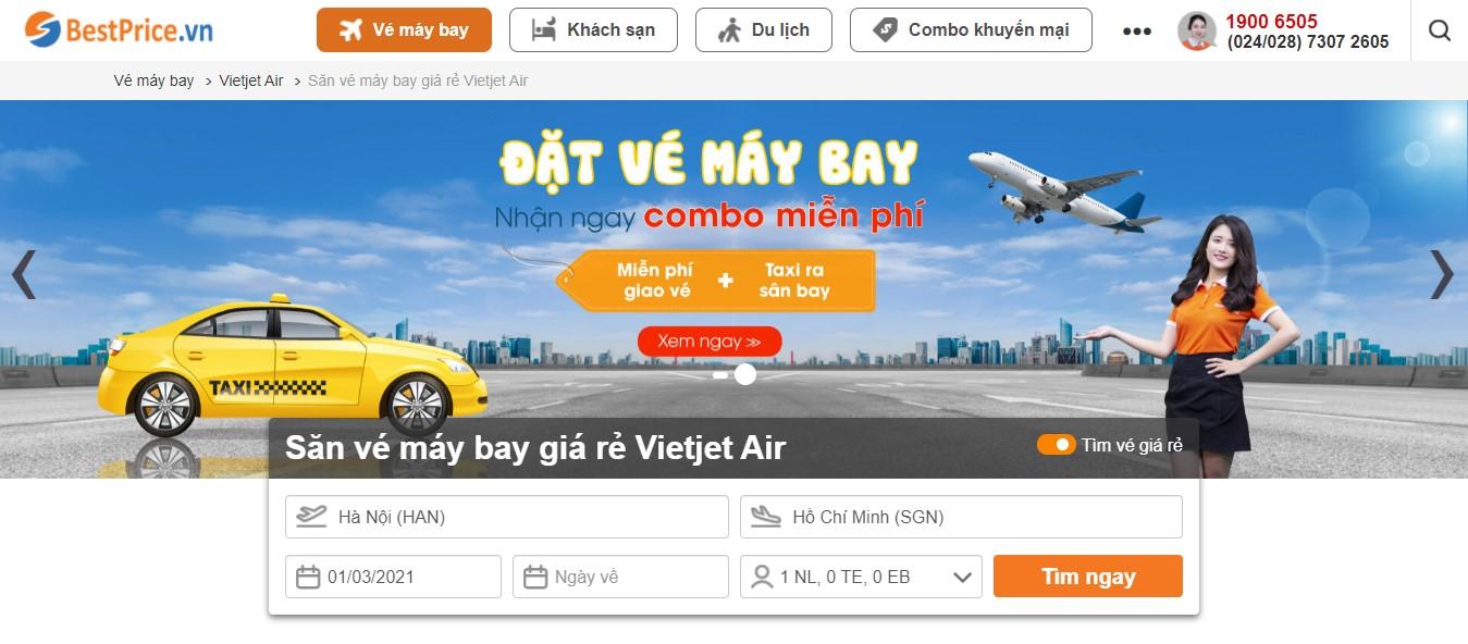 Điền thông tin chuyến bay để săn vé máy bay giá rẻ Vietjet Air tại BestPrice