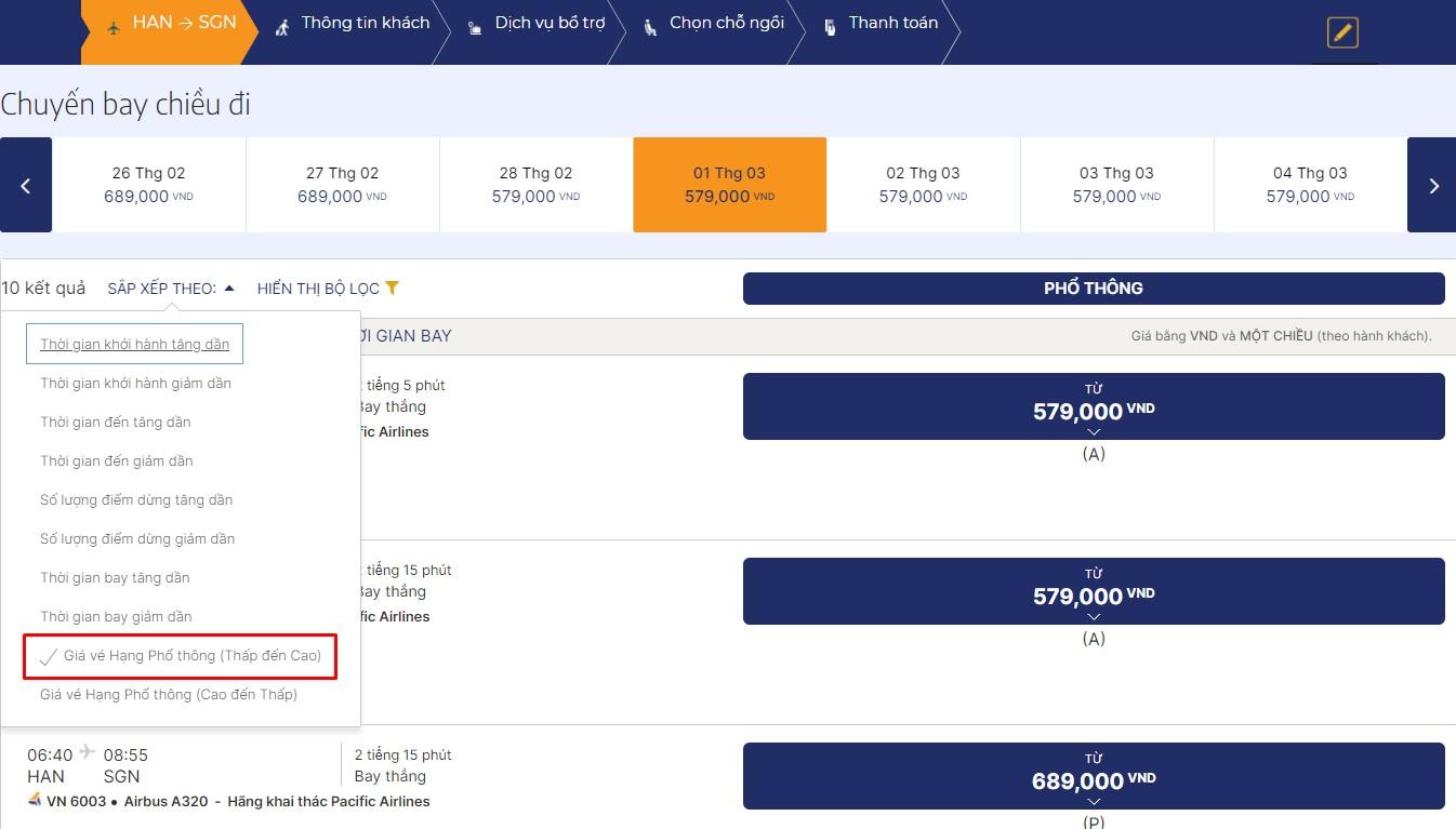 Lọc vé giá rẻ hãng Pacific Airlines
