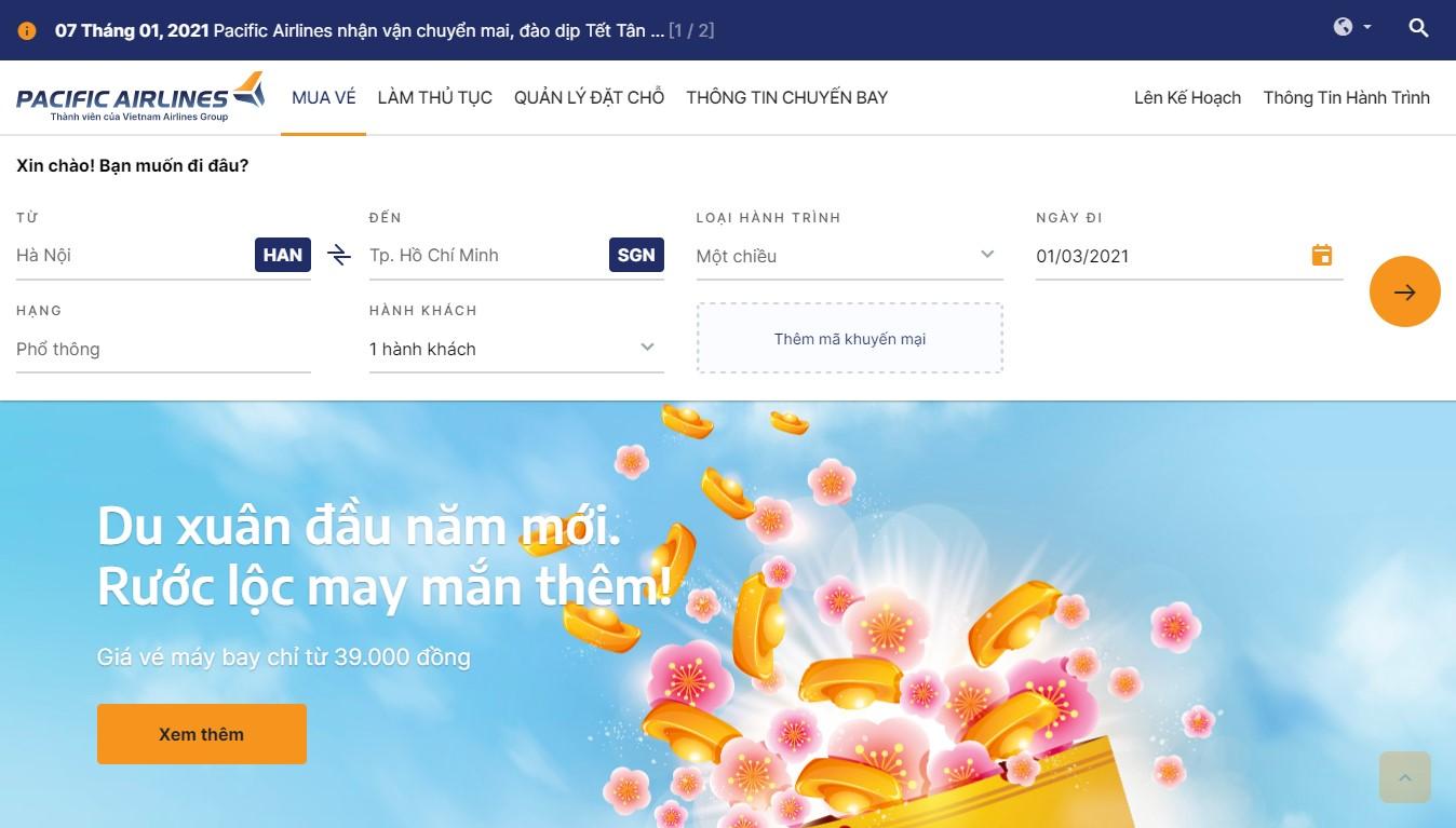 Điền thông tin chuyến bay để đặt vé trên website Pacific Airlines