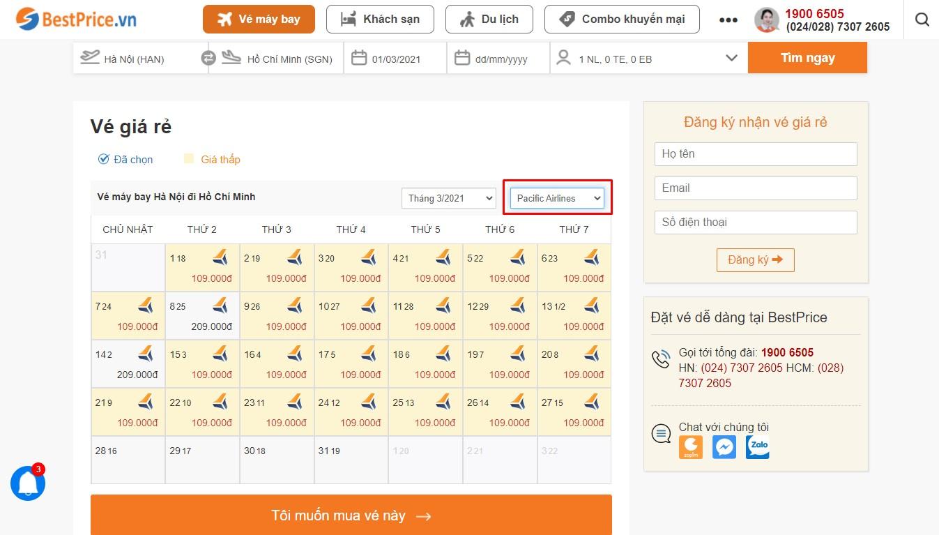 Bảng vé máy bay Pacific Airlines giá rẻ theo tháng