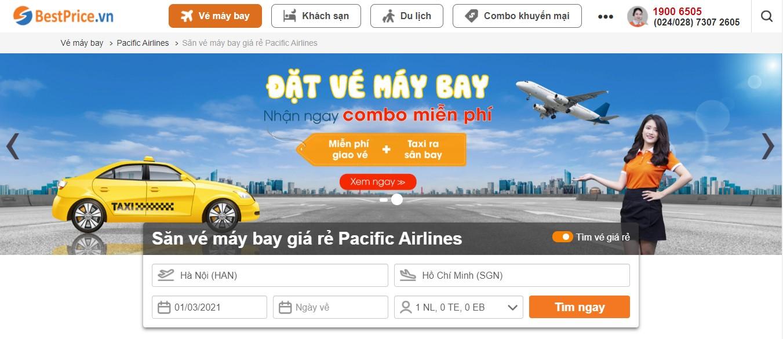 Điền thông tin chuyến bay để săn vé máy bay giá rẻ Pacific Airlines tại BestPrice