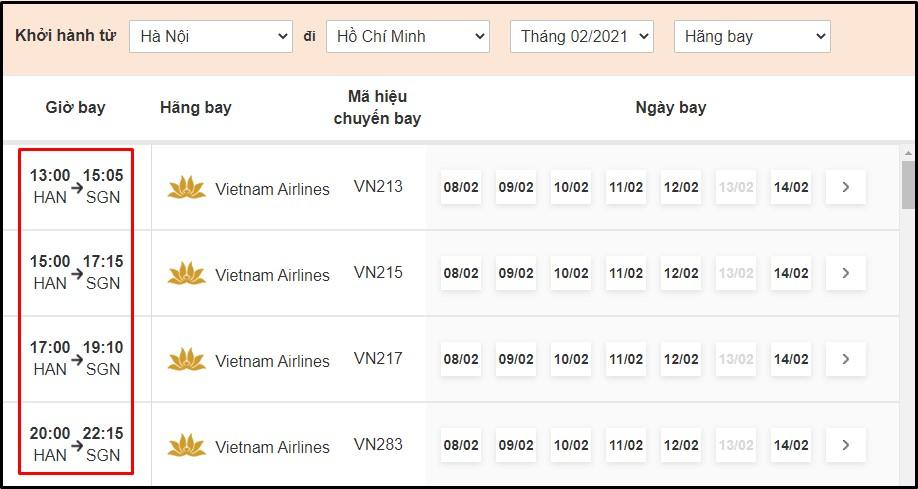 Thời gian bay từ Hà Nội đến Hồ Chí Minh