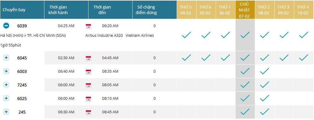 Tra cứu lịch bay Vietnam Airlines trên website hãng