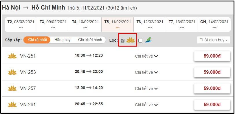 Đặt vé máy bay Vietnam Airlines tại BestPrice