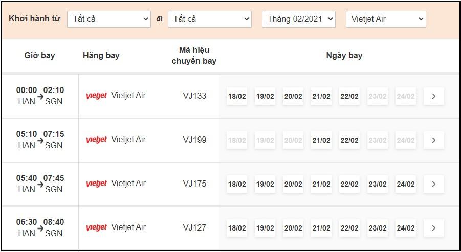 Tra cứu lịch bay Vietjet Air tại BestPrice