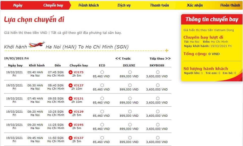 Lịch bay Vietjet Air trên website hãng