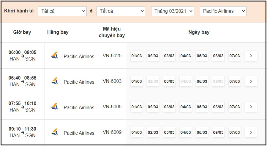 Tra cứu lịch bay Pacific Airlines tại BestPrice