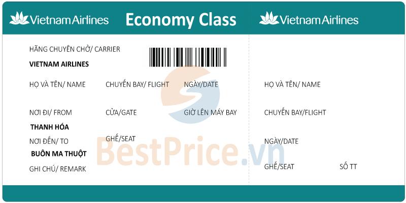 Vé máy bay Thanh Hóa đi Buôn Ma Thuột Vietnam Airlines