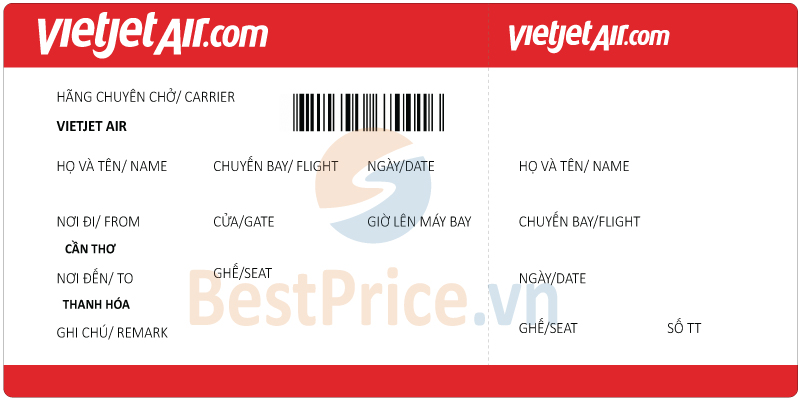 Vé máy bay Cần Thơ đi Thanh Hóa Vietjet Air