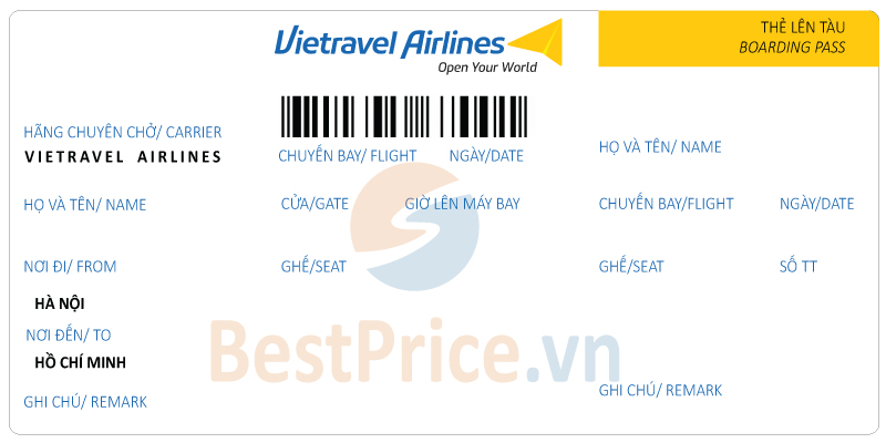 Vé máy bay Hà Nội - Sài Gòn Vietravel Airlines