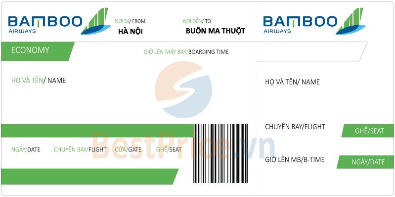 Vé máy bay Hà Nội - Buôn Ma Thuột Bamboo Airways