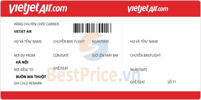 Vé máy bay Hà Nội - Buôn Ma Thuột Vietjet Air