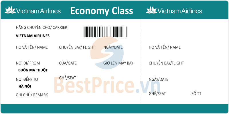 Vé máy bay Buôn Ma Thuột - Hà Nội Vietnam Airlines