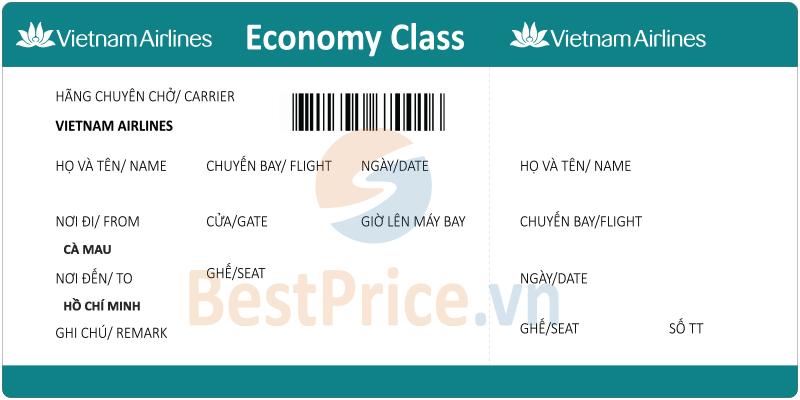 Vé máy bay Cà Mau - Hồ Chí Minh Vietnam Airlines