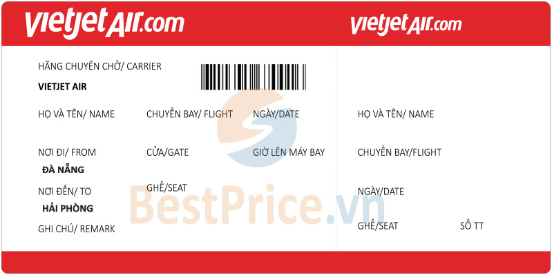 Vé máy bay Đà Nẵng - Hải Phòng Vietjet Air