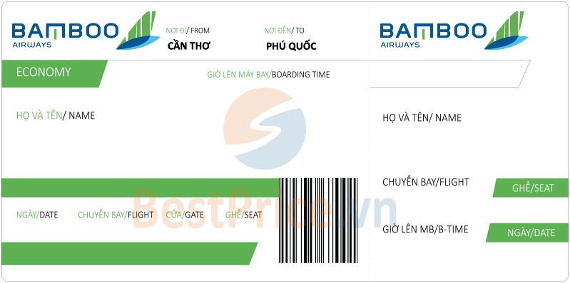 Vé máy bay Cần Thơ đi Phú Quốc Bamboo Airways
