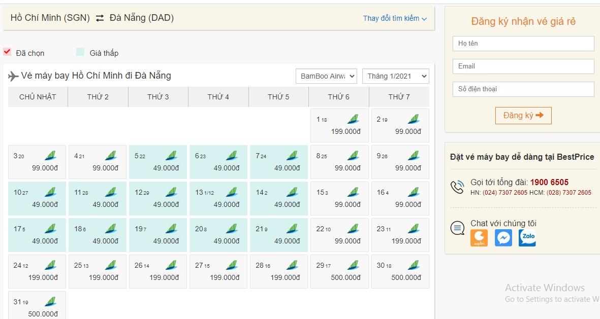 Vé máy bay Bamboo Airways giá rẻ tháng 1