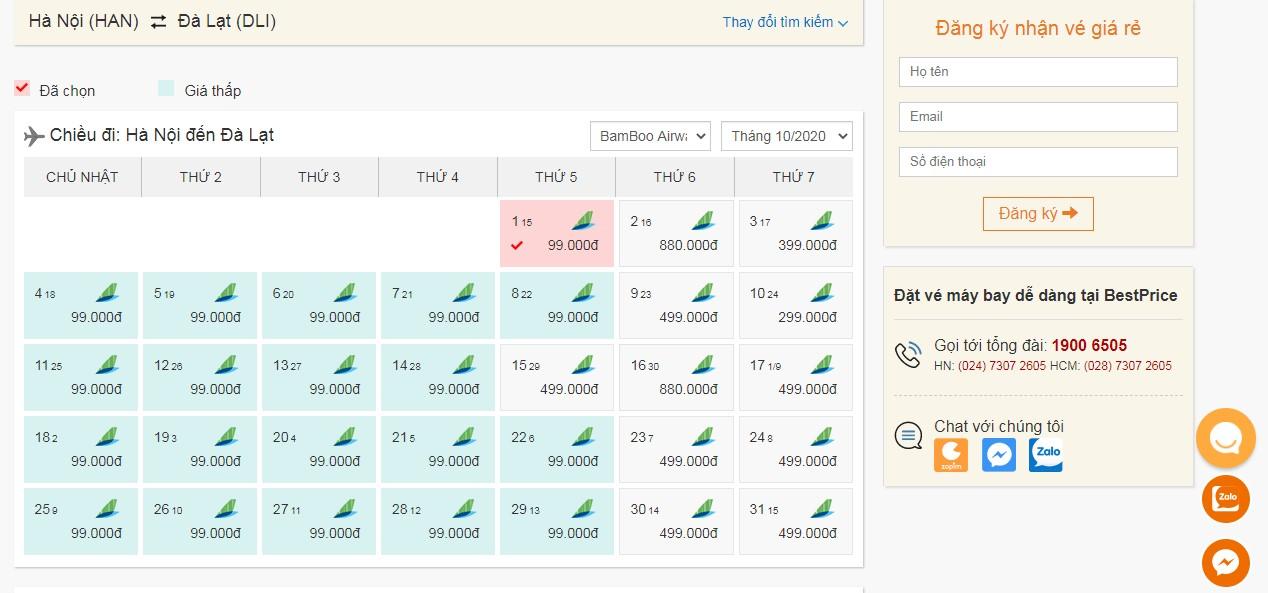 Vé máy bay tháng 10 Bamboo Airways