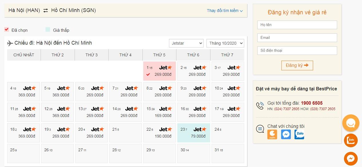Vé máy bay Jetstar- Pacific Airlines tháng 10