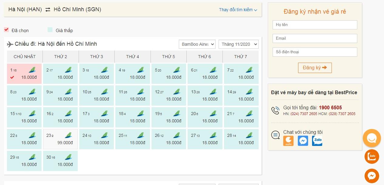 Vé máy bay Bamboo Airways tháng 11