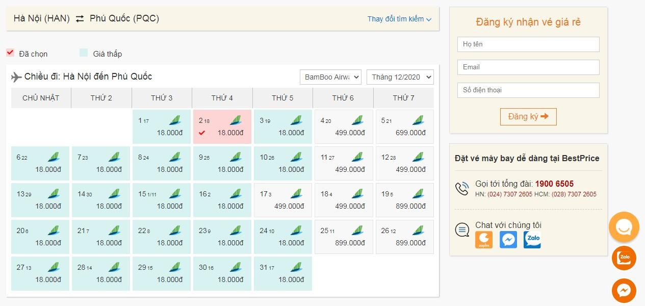 Vé máy bay Bamboo Airways tháng 12