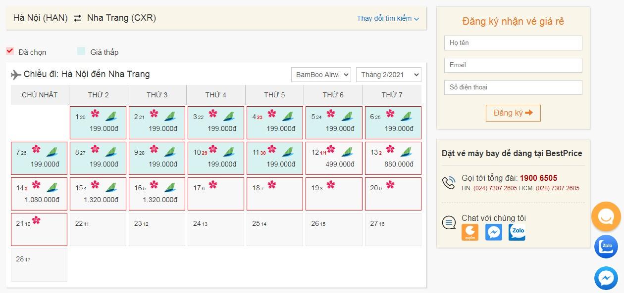Vé máy bay tháng 2 Bamboo Airways giá rẻ