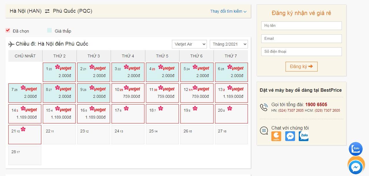 Vé máy bay Vietjet Air tháng 2 giá rẻ
