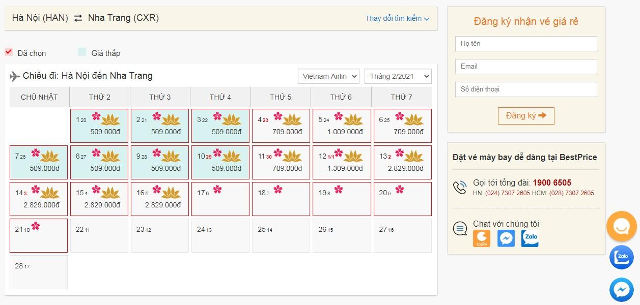 Vé máy bay Vietnam Airlines giá rẻ tháng 2
