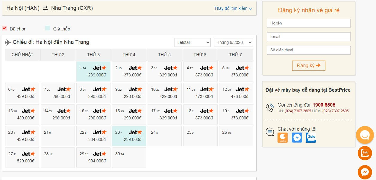 Vé máy bay Pacific Airlines (Jetstar) tháng 9