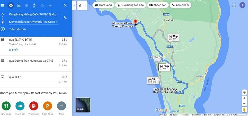 Bản đồ từ sân bay Phú Quốc đến Mövenpick Resort Waverly Phu Quoc