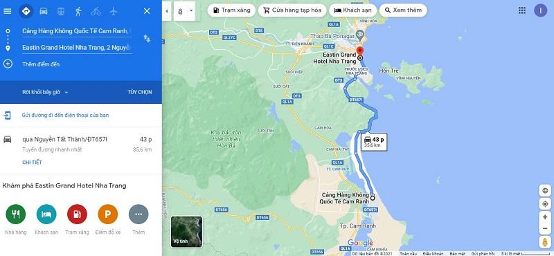 Bản đồ từ sân bay Cam Ranh đến Eastin Grand Hotel Nha Trang