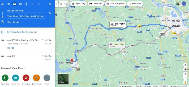 Quãng đường từ trung tâm Hà Nội đến V Star Resort Hòa Bình