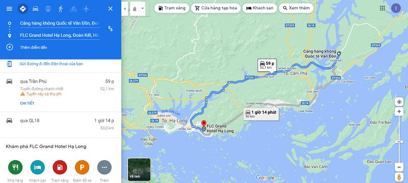 Đường di chuyển từ sân bay Vân Đồn đến FLC Grand Hotel Hạ Long