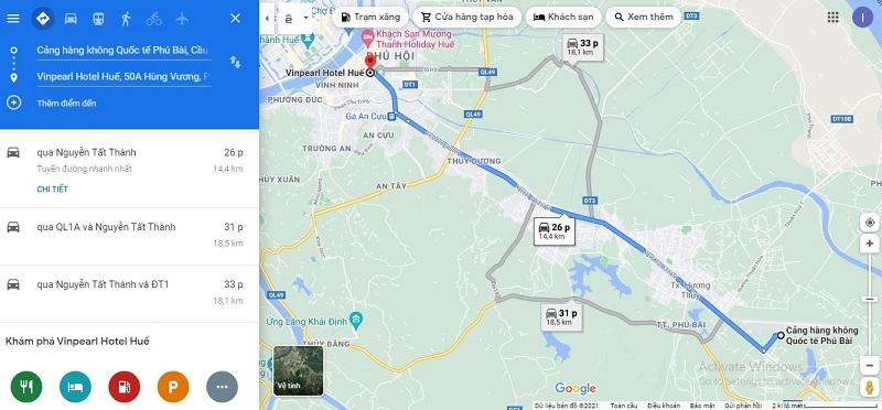 Sân bay Phú Bài đến Vinpearl Hotel Huế